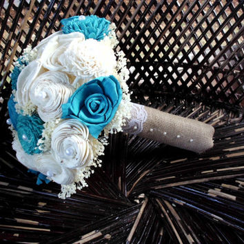 Turquoise and cream bridal bouquet, sola bouquet, rustic bouquet, rustic wedding, keepsake bouquet,alternative bouquet,wedding bouquet