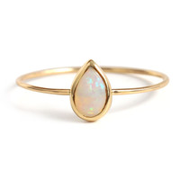 catbird gold opal teardrop ring