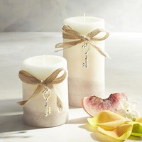 Vintage Linens Layered Pillar Candles
