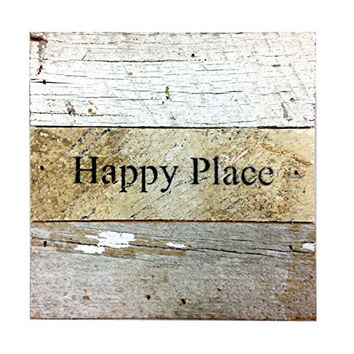 Happy Place - Reclaimed Tobacco Lath Art Sign 6-in X 6-in