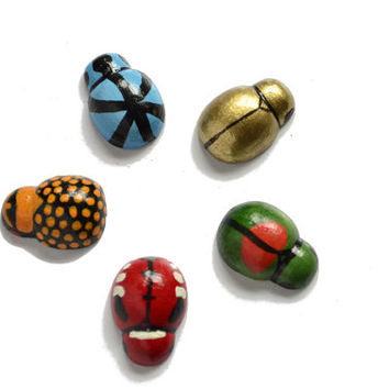 Beetle magnets, hand painted colourful magnets, tiny wooden insects