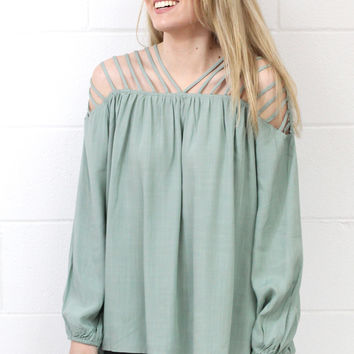 Caged In Love Blouse {Sage}