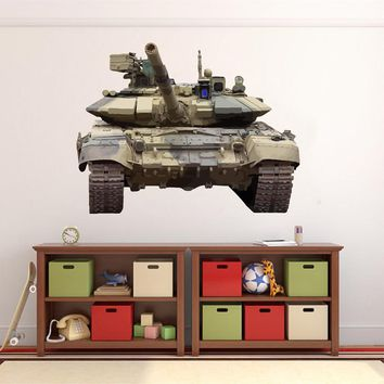 cik1342 Full Color Wall decal military tank transport machinery machine children's room