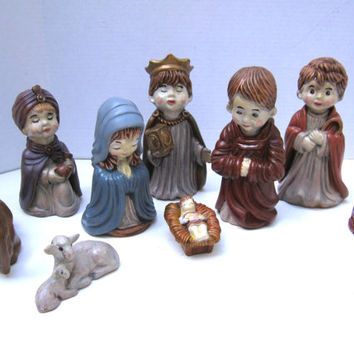 Arners Ceramic Nativity Scene 9 Piece Arners Nativity Set Rare Edition