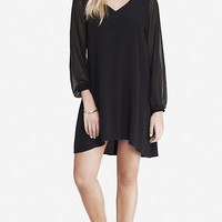 Black Chiffon Sleeve Hi-lo Hem Dress from EXPRESS