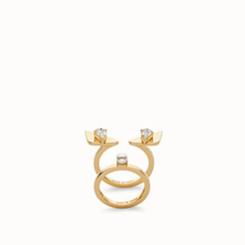 double in metal with rhinestones and a pearl - RING | Fendi | Fendi Online Store
