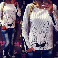 White Rabbit Print Long Sleeve Top