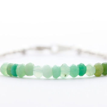 Delicate chrysoprase bracelet with Karen Hill tribe silver beads