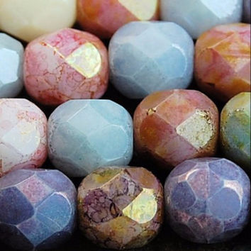 6mm Opaque Luster Mix Czech Glass Beads - 25pc Strand - Round, Faceted, Fire Polished, Multicolor Assortment