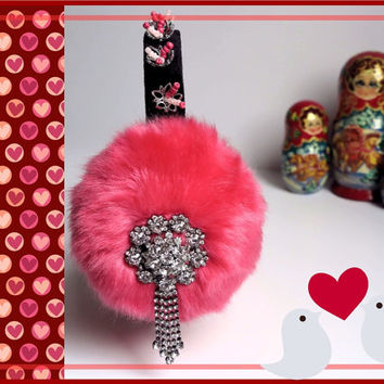 Pink faux fur earmuffs, Valentines day gift, embellished ear warmers, plush earmuffs, fluffy earmuffs,