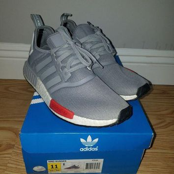 PEAP3 ADIDAS MENS NMD R1 NOMAD GRAY RED WHITE CORE RUNNER BOOST ULTRA