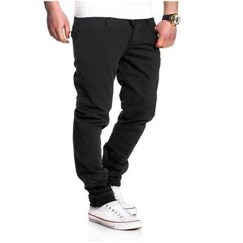 Men'S Trousers 2017 New Four Seasons High Quality Casual Trousers Fashion Solid Color Washed Slim Casual Pants