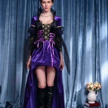 MOONIGHT New Adult Women Sexy Purple Halloween Party Witch Queen Costumes Outfit Fancy Cosplay Long Dresses Macchar Cosplay Catalogue
