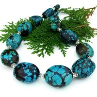 Genuine Turquoise Statement Necklace, Chunky Handmade Southwest Gemstone Sterling Jewelry