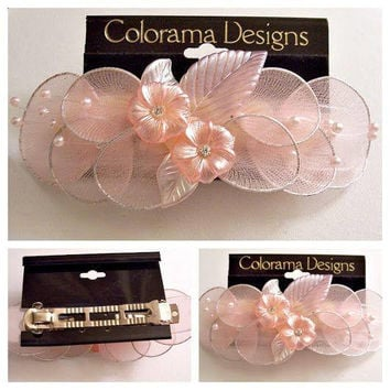 Pink Blush Flower Pearl Leaf Barrette Hair Clip Accessories Weaved Fabric Discs Round Clear Crystals Spring Bar Wedding Bridal Formal Wear