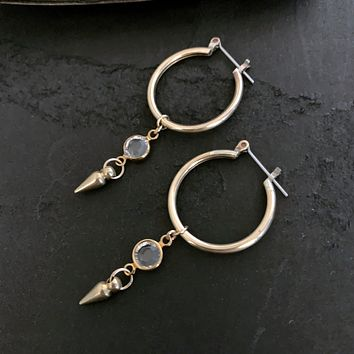 Small Gold Brass Hoop Crystal Spike Earrings, Edgy Gold Jewelry