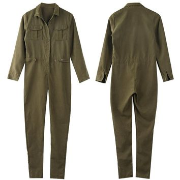 Army Green Solid Casual Bodysuit Ladies Vintage Romper Long Jumpsuit