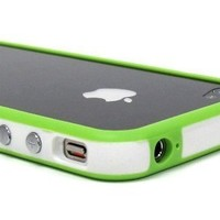 White and Green Premium Bumper Case for Apple iPhone 4 - AT&T