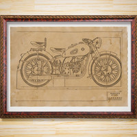Bike decor Patent print Russian Motorcycle blueprint poster
