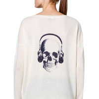 Skull Cashmere Headphones Cashmere Sweater in Cream