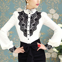 White and Black Lace Applique Funnel Collar Long Puff Sleeve Blouse
