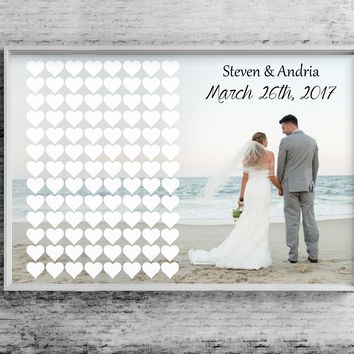 Wedding Guest Book - Photo And Hearts
