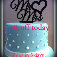 50% OFF TODAY Mr & Mrs with Heart Wedding Cake Topper - Acrylic Cake topper Item MMCT519