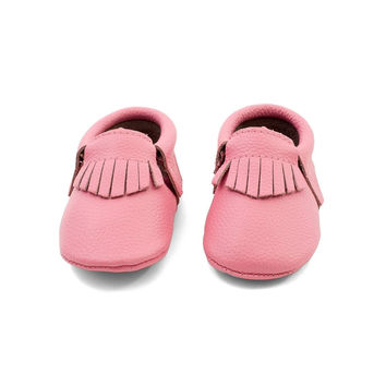 Fringe Baby Leather Moccasins Pink Lemonade