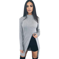 Turtleneck Long Slim Solid Split Autumn Sweaters