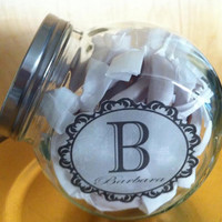 Glass Candy Jar with Custom Monogramed Label Filled with Handcrafted Caramels