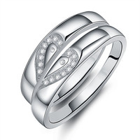 Gullei Trustmart : Swiss diamond matching hearts pair of wedding rings [GTMCR0049] - $35.00-Couple Gifts, Cool USB Drives, Stylish iPad/iPod/iPhone Cases & Home Decor Ideas