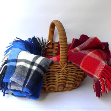 Vintage Mid century red or blue plaid wool picnic travel blanket throw