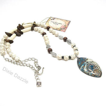Buffalo turquoise howlite, wood, bone and crazy lace agate long necklace, adjustable necklace, rustic, western style, earth tones