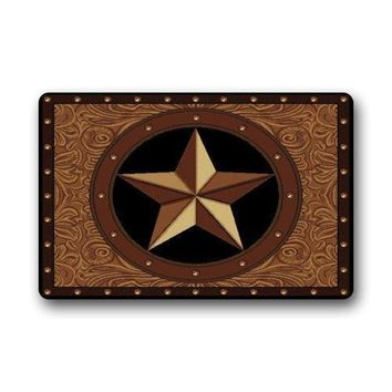 "Autumn Fall welcome door mat doormat Western Texas Star  Welcome  For Home Decoration Bathroom Floor Mat Rug Carpets Indoor/Outdoor (23.6""X15.7"") AT_76_7"