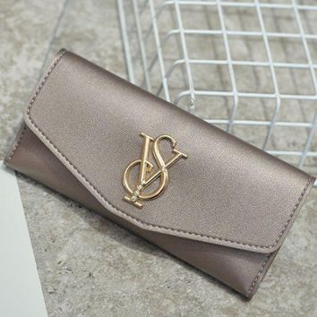 DCCKR2 YSL summer new simple women s car suture solid color wild wallet long wallet Champagne