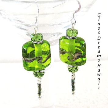Apple Green Dangle Earrings, Lampwork Glass Bead Earrings, Handmade Lampwork Glass Earrings, Beach Earrings BOHO Earrings