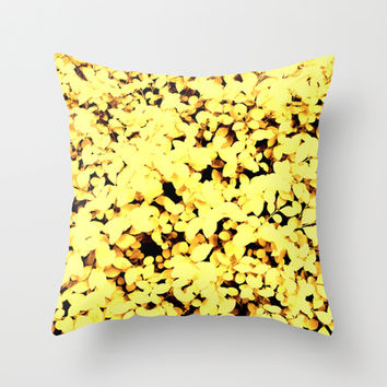 Yellow Pastel Leaves Throw Pillow by Moonshine Paradise