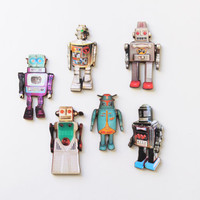 Laser Cut Wooden Vintage Robot Magnets