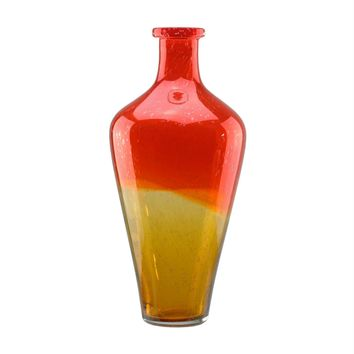 "15"" Flame Orange and Amber Yellow Ombre Hand Blown Bubble Glass Vase"