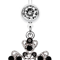 Shimmering Cross Patonce Belly Button Ring