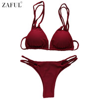 ZAFUL Hot Sexy Solid Color Bikini 2017 Swimwear Women Swimsuit Biquini Strappy Push Up Bikinis Set Bathing Suit Maillot De Bain