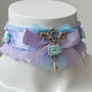 Kitten play collar - Angelique - ddlg kawaii cute princess pet lolita costume - lilac and blue lace collar with keys and roses