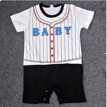 Baby Romper Summer short-sleeved Baseball Boys Clothes Sets Newborn Baby Clothing Gentleman Rompers Stripes Infant Jumpsuits