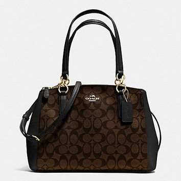 New Authentic Coach F36619 Small Christie Carryall Satchel Shoulder Bag in Signature PVC Brown Black