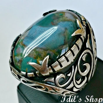 Men's Ring, Turkish Ottoman Style Jewelry, 925 Sterling Silver, Authentic Gift, Handmade, With Rainforest Rhyolite Stone, US Size 12, New