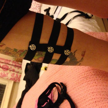 Garter tri-stripe cage harness with pentagram charms