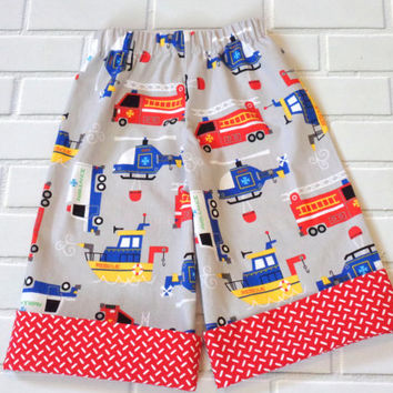Boys Pants Fire Truck Helicopter Rescue Boat Boutique Clothing By Lucky Lizzy's
