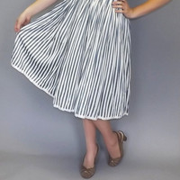 Vintage 1960's Sweet Striped Sundress Nautical Sailor Pin Up Girl Tea Dress Size Small Medium Pleated Short Spring Beach Day Dress