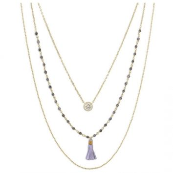 Triple Strand 14 K Gold Plated Necklace