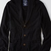 AEO Men's Textured Pocket Cardigan (Bold Black)